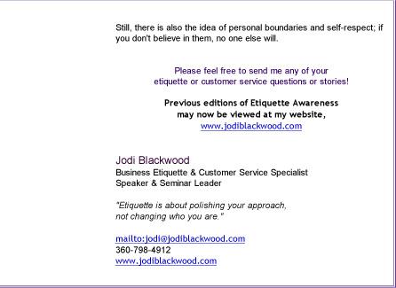 Etiquette Awareness 2