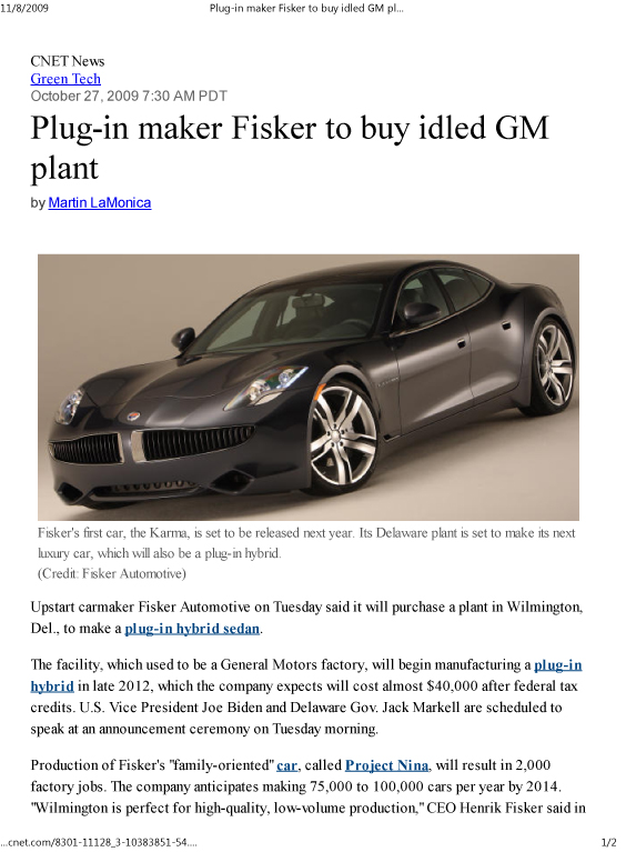 Plug-in maker Fisker to buy idled GM plant _ Green Tech - CNET News-1
