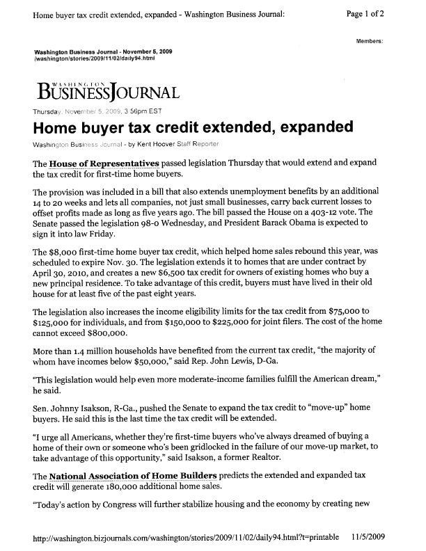 Washington Biz Journal - tax credit extension-1